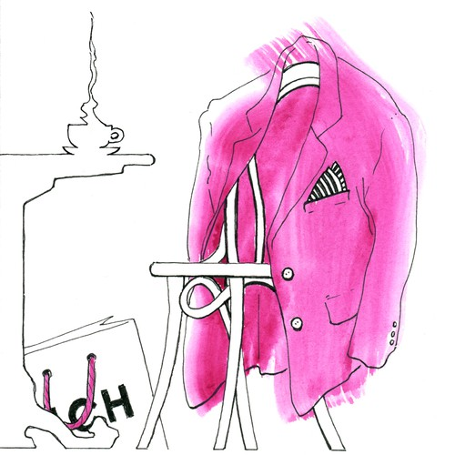 Hand-drawn postcard for a fashion house