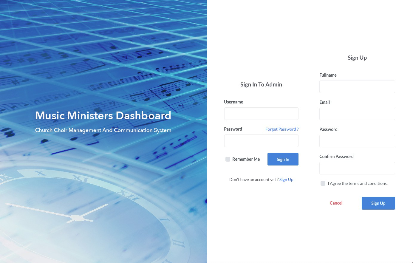 Music Ministers Dashboard