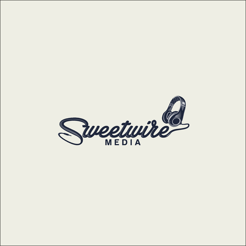 logo incorporating a pair of headphones