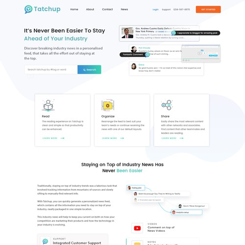 TatChup B2B Website for personlaised Newsfeed