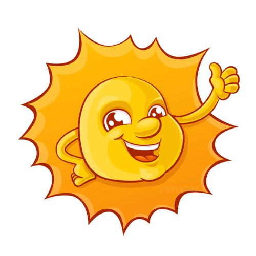 Anthropomorphic sun mascot