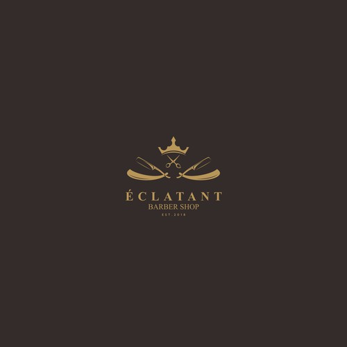 Luxurious barber logo concept