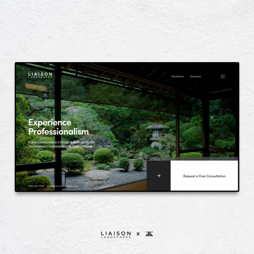 Clean and minimal website concept for a landscape construction company