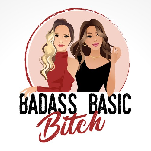 Portrait logo of 2 strong and beautiful women for a podcast