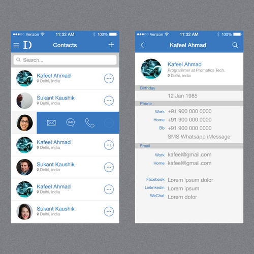 Minimalist Flat Design for Contacts Book App - Guaranteed Contest