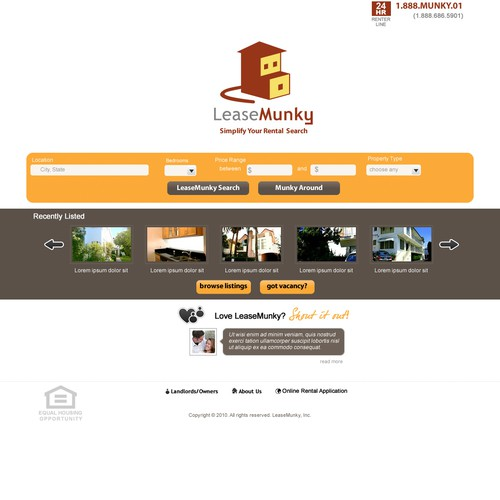 Dsign Incrdbly Simple Landing Page for FuNkY Apt Rental Site