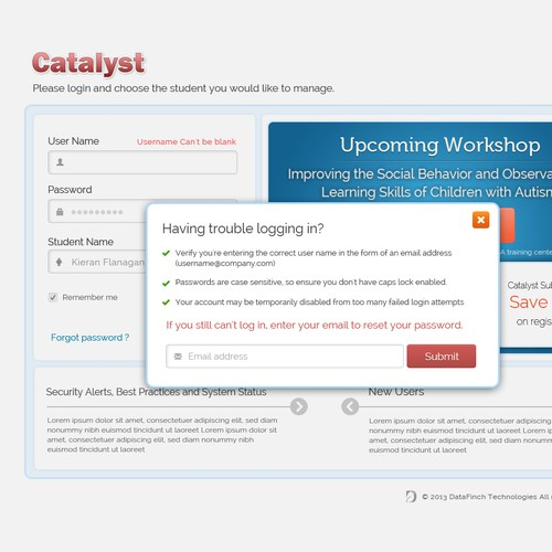 Login page design for Catalyst/DataFinch Technologies