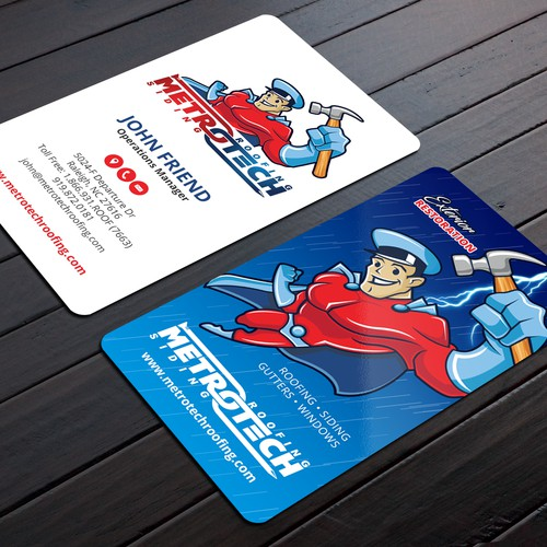Kick-azz business card for METROTECH Roofing Corp