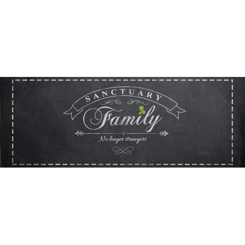Vintage chalkboard script with logo for young families group