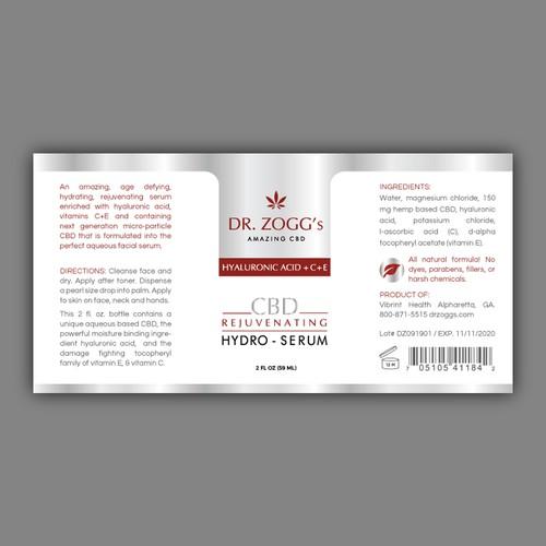 Logo re-work & CBD hydro-serum product label - contest winner