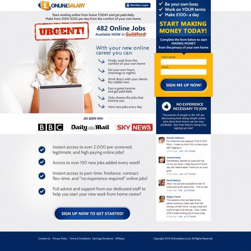 Creative Landing Page for Make Money at Home Platform