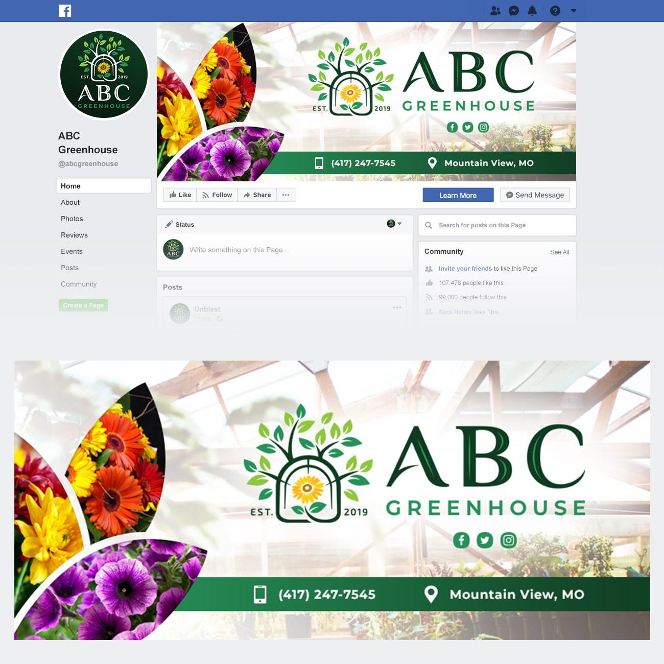 Facebook cover photo with logo.