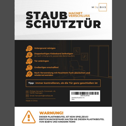 Label design for a German dust protection door