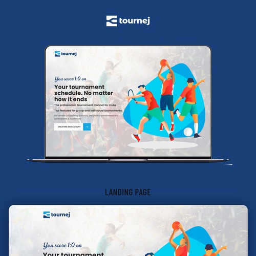 Landing page for sport scheduling that gives a high energy feeling - for tournej.com
