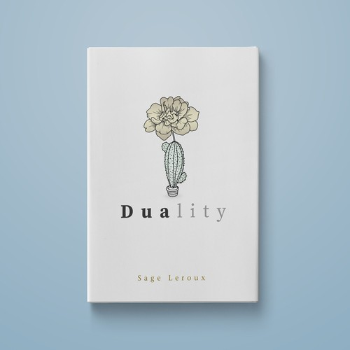 Conceptual Book cover design for a modern poetry collection -Duality