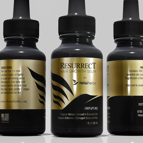 RESURRECT HAIR GROWTH SERUM LABEL DESIGN
