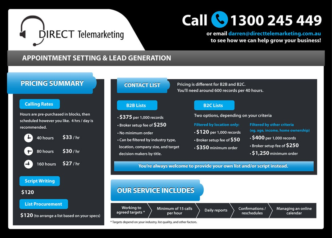 Design a one page pricing brochure for a Lead Generation company!