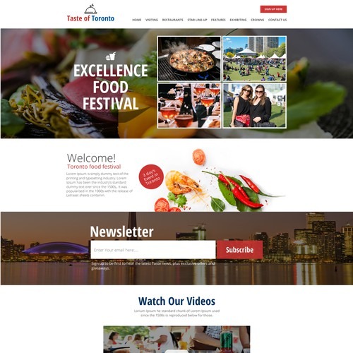 Web Design for an Food Event