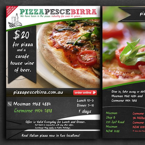 Create the next postcard or flyer for Pizza Pesce Birra