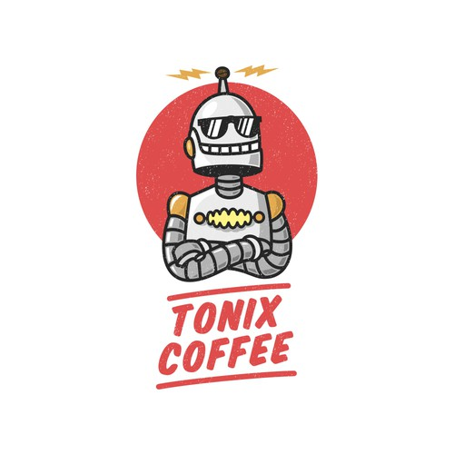 Sci-Fi Style robot logo for Coffee Product