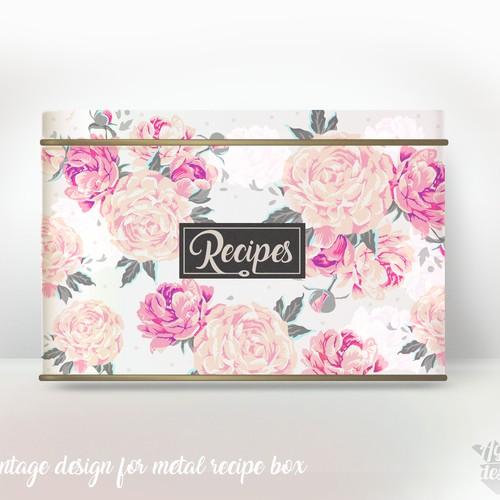 Vintage metal recipes box and my 3D metal box rendering