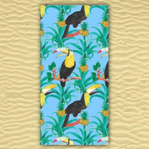 Tropical fabric pattern for bath towel