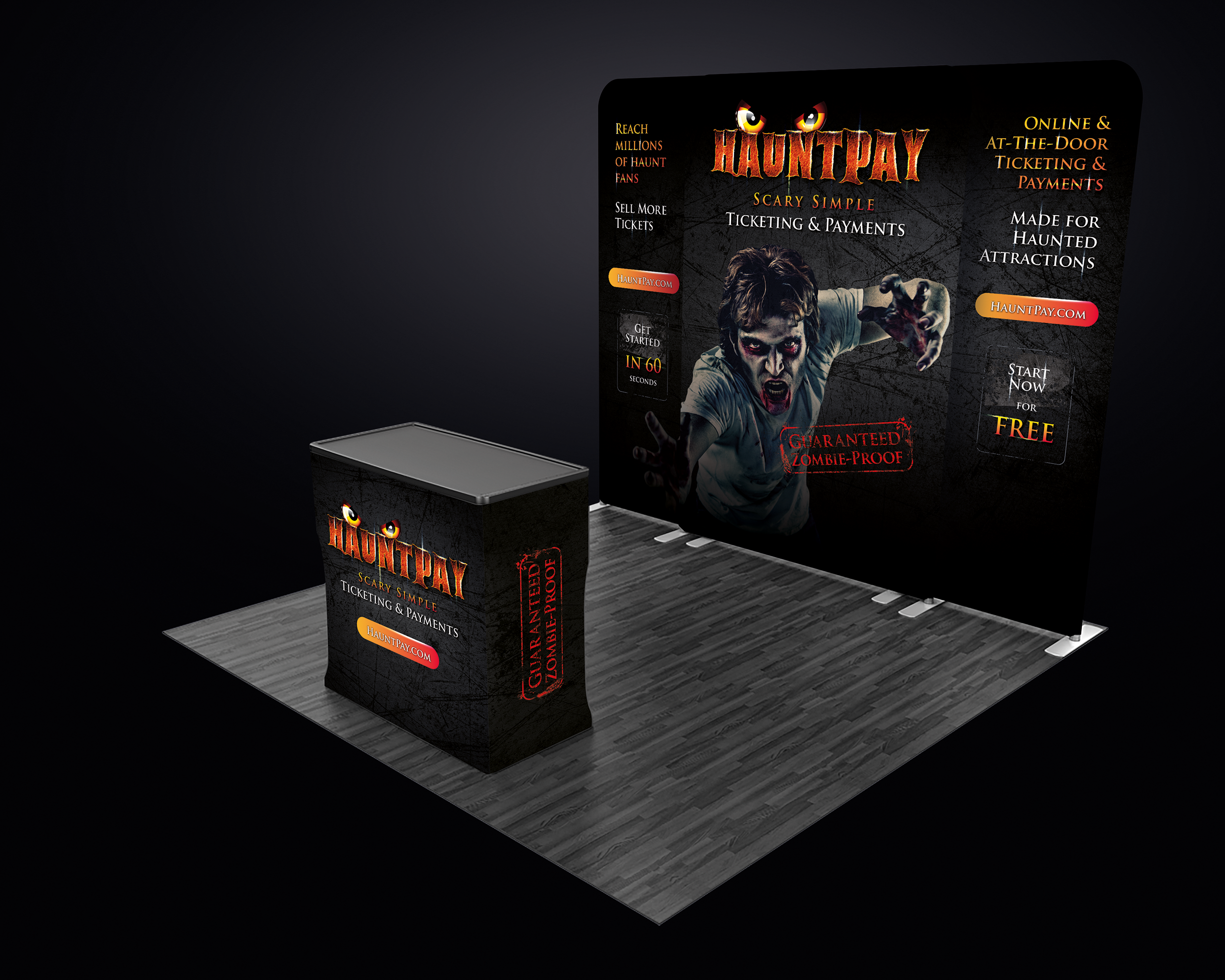 Eye catching trade show booth for haunted house event ticketing tech startup
