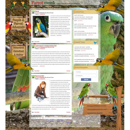 Help Covenant Parrot Place LLC with a new website design