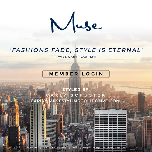Create a visually stimulating, clean, landing page for a luxury personal styling service