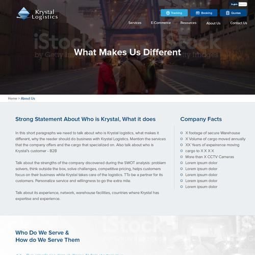 Website concept for Krystal logistics