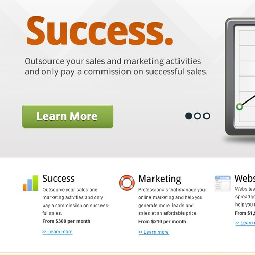 Website for Success Based Marketing with wire frame