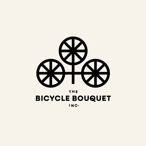 Logo concept for florist who selling flowers and handmade bouquets from tricycle-cart.