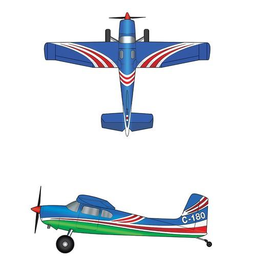 Paint scheme on a Cessna 180 plane