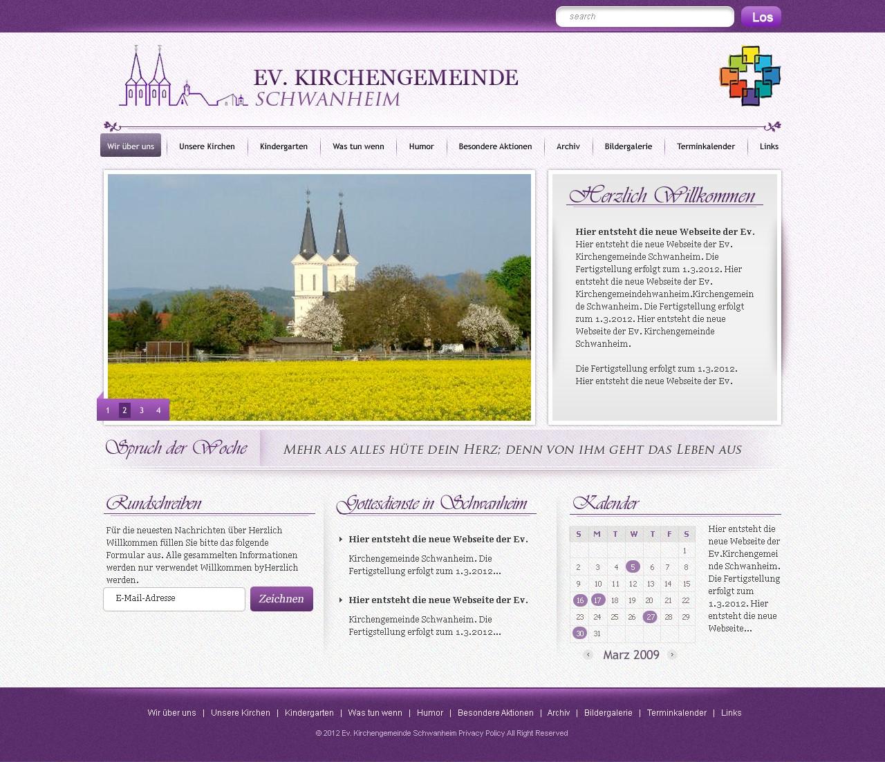 Ev. Kirchengemeinde Schwanheim needs a new website design