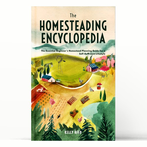 Illustrated book cover for off-grid homesteaders
