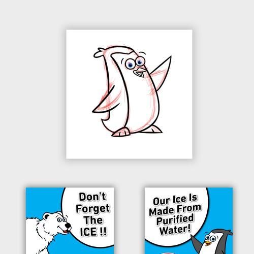 penguin mascot matching the current bear mascot