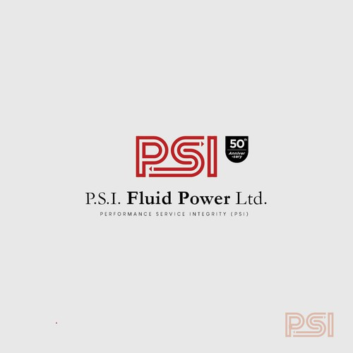 Strong and powerful logo for P.S.I Fluid Power