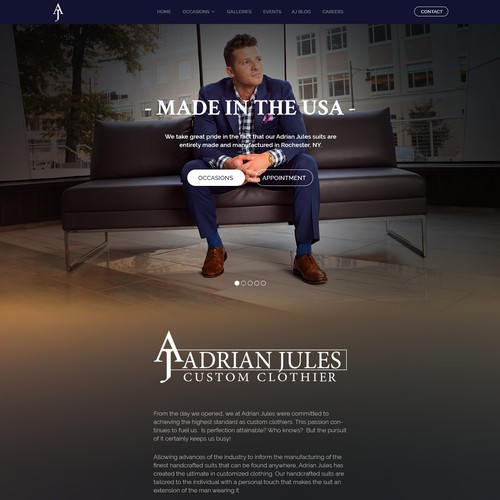 Custom Clothing website design