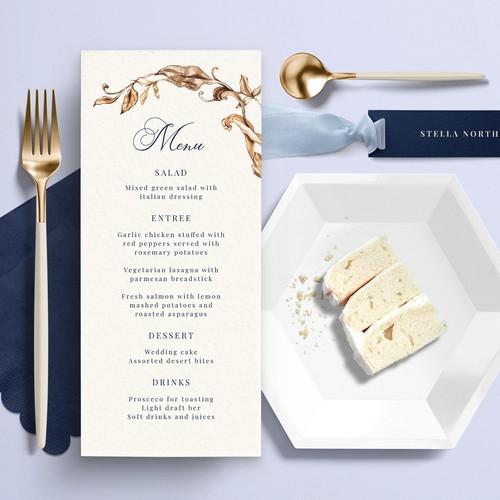 Menu and Escort card design