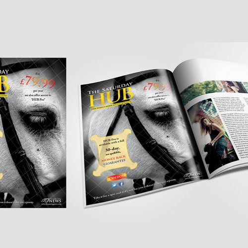 Create a captivating full page advert for a national horse racing magazine