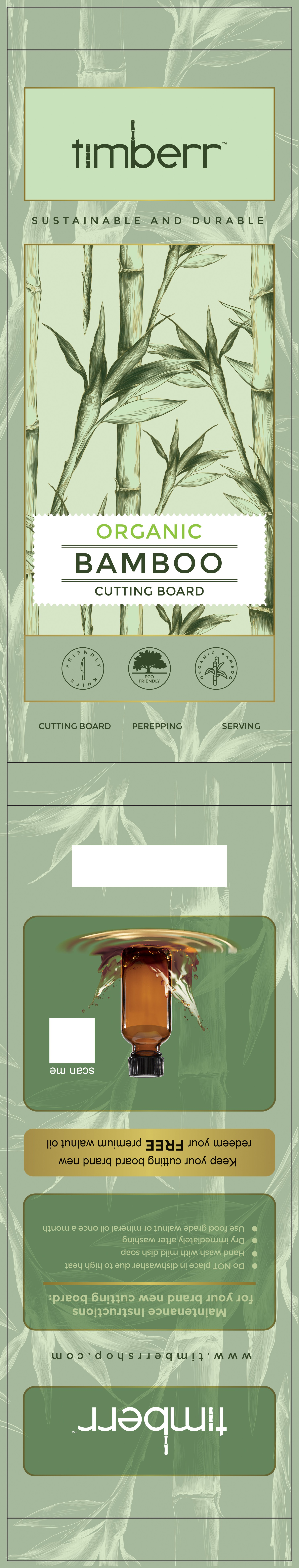 Bamboo Cutting Board Paper Card Packaging for Eco Amazon Customers