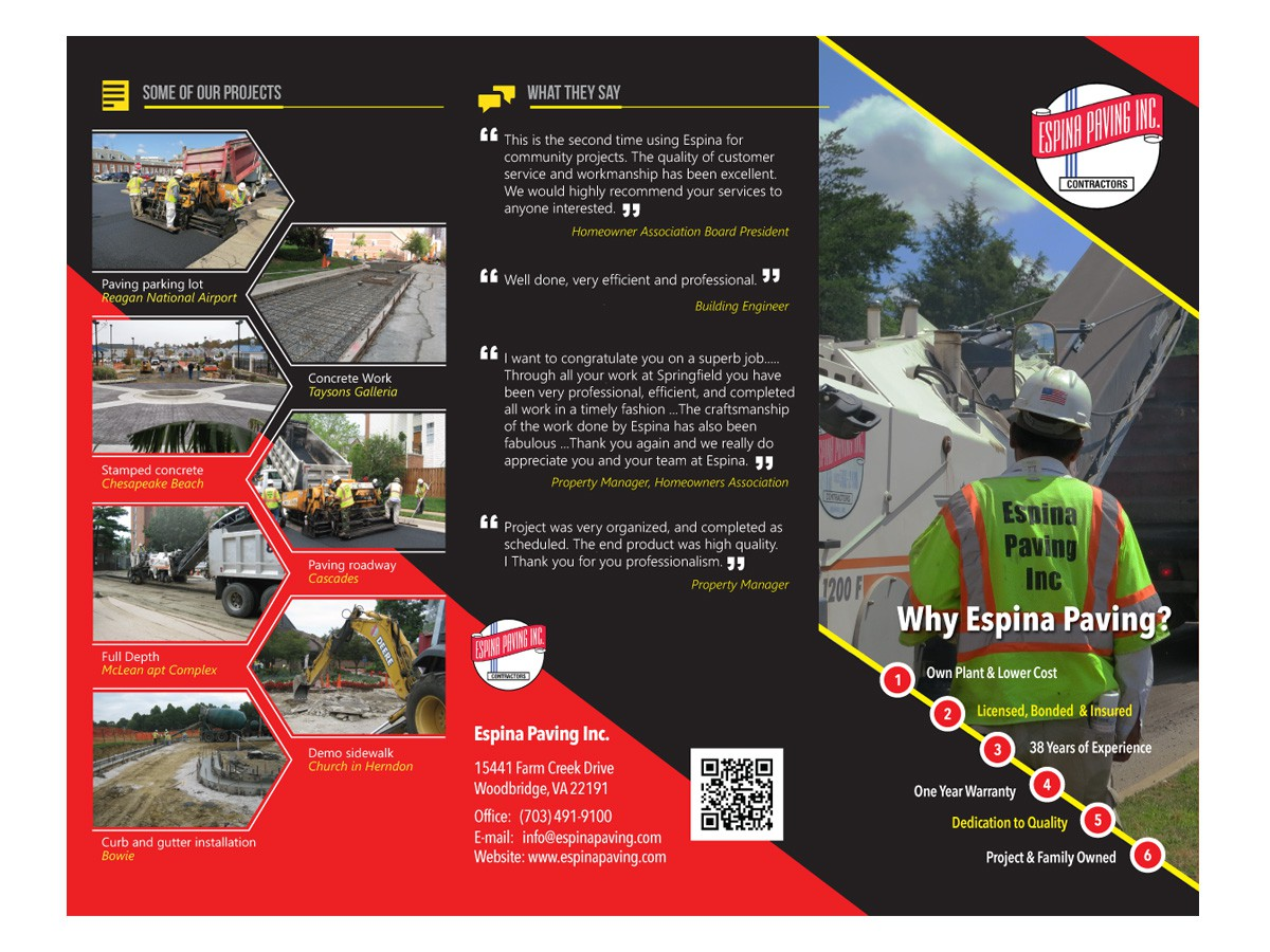 Tri-fold Brochure for paving company
