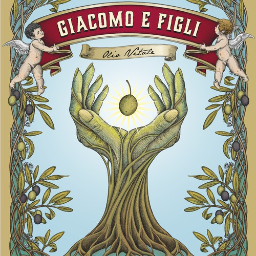 "Set of labels for a high quality olive oil ""Olio Vitale"" crafted by Giacomo & Figli."