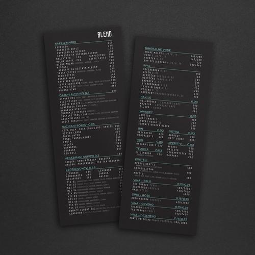 BLEND cafeteria menu