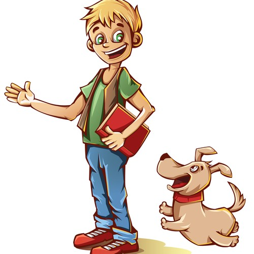Design character of the boy with dog