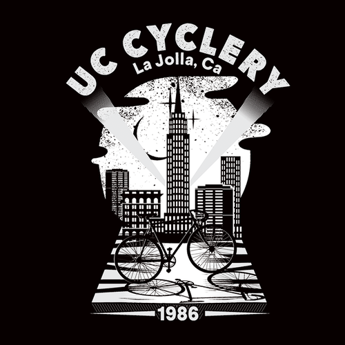 Design a trendy, eye-catching t-shirt for UC Cyclery, a La Jolla bicycle shop