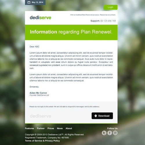 HTML Email Template for DediServe