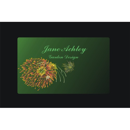 Create a stylish logo and business card for an upcoming garden designer