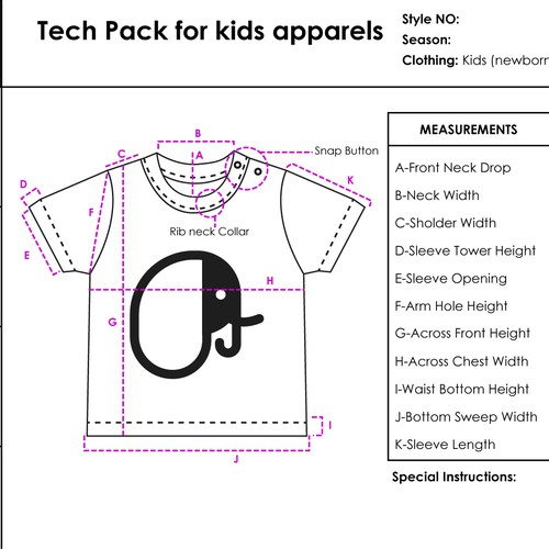 Tech Pack for kids Apparel