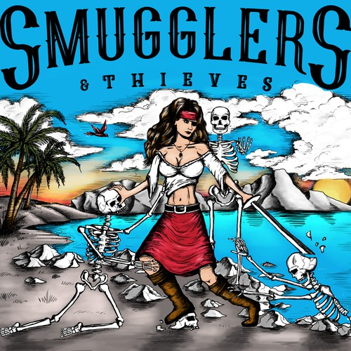 Smugglers and thieves pirate t-shirt design
